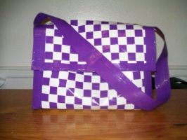 purple and white duct tape bag by ducttape-hostilities