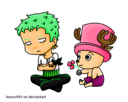 Chibi Commission: Zoro and Chopper by KaeLikesCheesecake