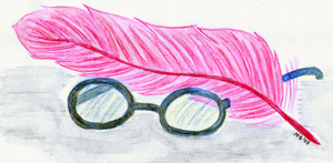 Glasses and a Feather by memoire-blanche