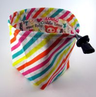 White and Rainbow Diagonal Stripes Dice Bag by Isilian