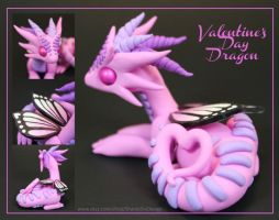 Polymer Clay Valentine Dragon Pink with Heart by ShaidySkyDesign
