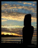 Easter Island - Sunset Moai 1 by yanjin