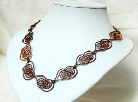 Double spiral simple copper wire necklace by YANKA-arts-n-crafts