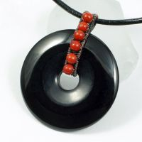 Copper, Red Jasper and Black Onyx Donut Necklace by sylva