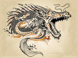 The finished tattoo dragon. by ErikDePrince