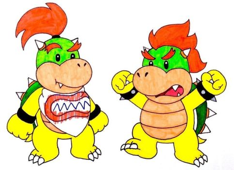 Bowser Jr and Baby Bowser by Iwatchcartoons715