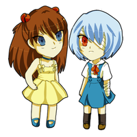Asuka and Rei Chibis by Temima