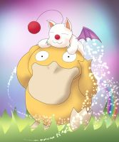 Moogle + Psyduck :Kupo Glomp: by Wildy71090