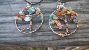Autumn Leaves Tree of life pendants by WyckedDreamsDesigns
