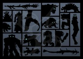 SotC-Silhouettes - ALL 16 by Merinid-DE