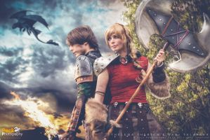 Astrid and Hiccup by ThelemaTherion