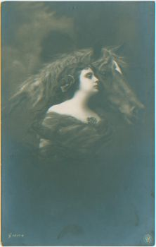 Lady and a horse by PostcardsStock