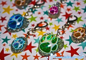 Glitter Paw Collar Charms by squeekaboo