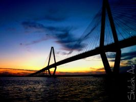 Sunset Over Ravenel Bridge by ShilohAsha