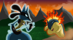 Training Session:Lucario vs. Typhlosion Colored by JamalC157