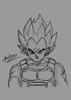 A Sketch Of Vegeta From DragonBall Z by Pixetomics