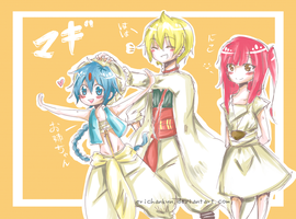 Magi: Aladin-Alibaba-Morgiana by erichankun