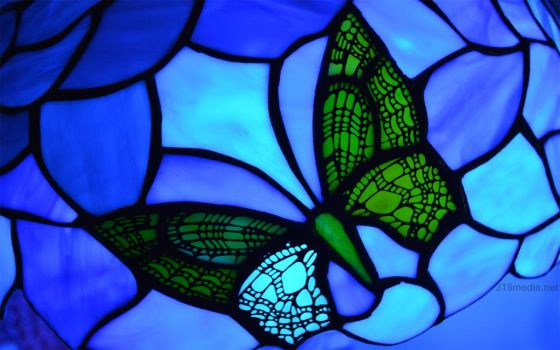 Blue Stained Glass Butterfly Wallpaper by Sabretooth