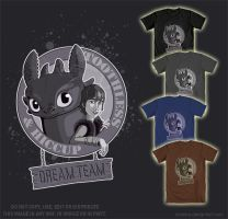 Toothless and Hiccup - T-Shirt Design by Strecno
