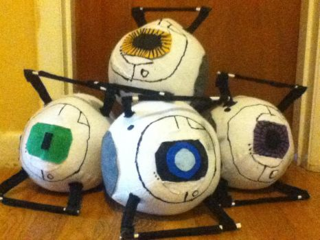 Portal 2 Corrupt Core Plushies by Stoshprefect42