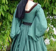 Green Silk Tudor Gown Back Closeup by CenturiesSewing