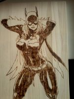 Batgirl woodburn/pyrography by Deadhead37