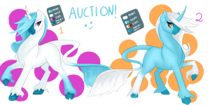 AUCTION (CLOSED)- Winter Unicorn sisters by DragonaDeMetal