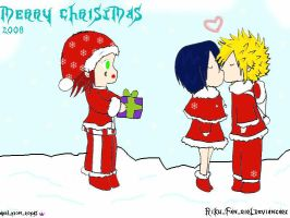 merry christmas:aku roku xion: by Riku-Fan-girL