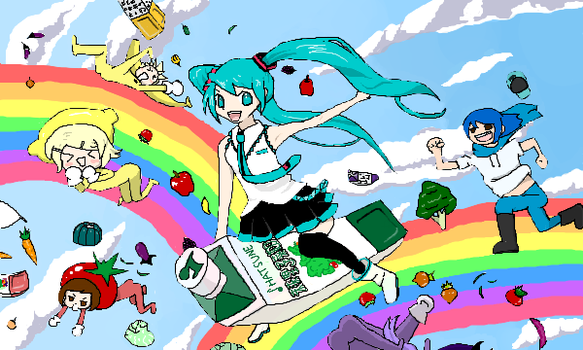 Miku flying on...juice? by OrangeFusion