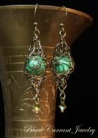 Turquoise Swirls Earrings by blackcurrantjewelry