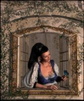 The girl at the roses window by mininessie66