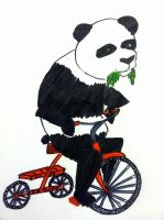 A panda riding a tricycle by beaniegeekgirl