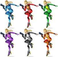 Zero Suit Samus SSB4 Recolors by shadowgarion