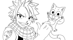 Fairy Tail - Natsu and Happy - Line art by UsagiTail