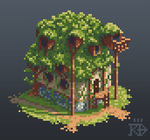 Isometric pixel art overgrown house by RGBfumes
