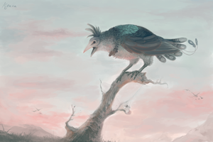 Art-trade: Crow by Pink-Death-Pigeon