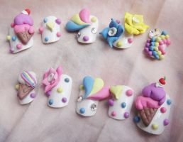 PASTEL ICE CREAM 3D NAILS by jadelushdesigns