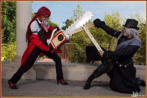 Grell Vs Undertaker by SequinSuperNOVA