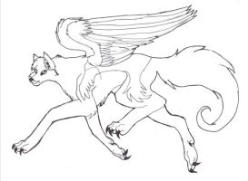Random winged wolf .:lineart:. by KaoriSkywalker