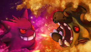 Gengar vs Hippowdon by Deruuyo