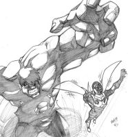 Hulk vs Blue Beetle by MatthewMcIntosh