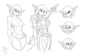 Sif Character Sheet Lineart by Obhan