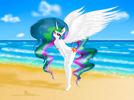 Celestia at the beach - NSFW version by GladiatorRomanus