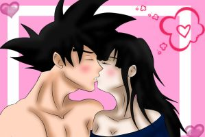 Goku and ChiChi- Sweetest kiss by Beastwithaddittude