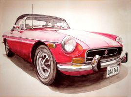 1971 MGB Watercolor by sixandazoo