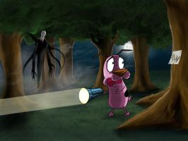 Can Courage outrun Slender Man by jose144