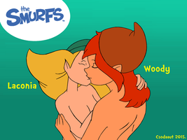 The Smurfs - Laconia and Woody in kiss by Csodaaut