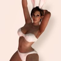 Lisa Hamilton White Bunny Outfit by Sticklove