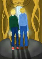 Hetalia: Arthur and Alfred in the TARDIS by matisse77
