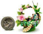 FAIRY COTTAGE HOUSE ROSES BASK by WEE-OOAK-MINIATURES